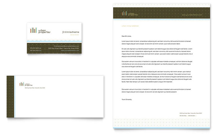 Urban Real Estate Business Card & Letterhead Template Design Download - InDesign, Illustrator, Word, Publisher, Pages