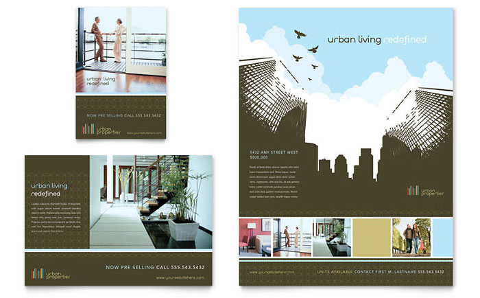 urban real estate flyer ad template design