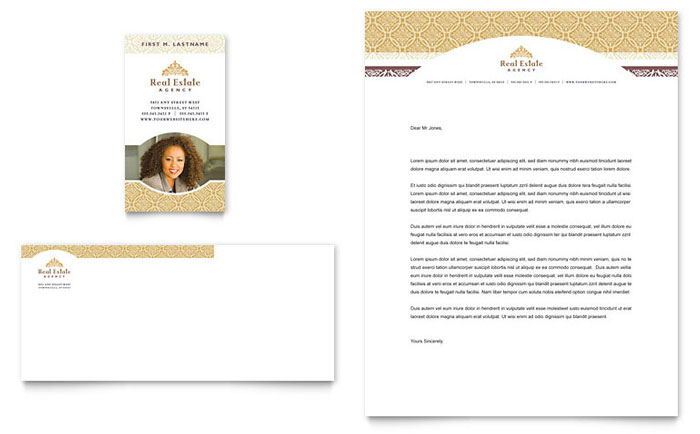 luxury real estate business card  u0026 letterhead template design