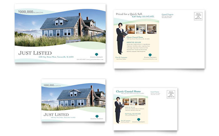 Coastal Real Estate Postcard Template Design Download - InDesign, Illustrator, Word, Publisher, Pages