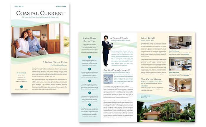 Coastal Real Estate Newsletter Template Design