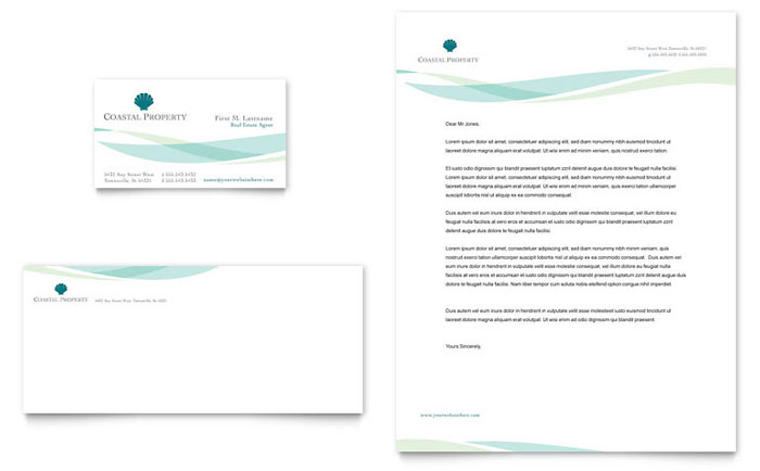 Coastal Real Estate Business Card & Letterhead Template Download - InDesign, Illustrator, Word, Publisher, Pages