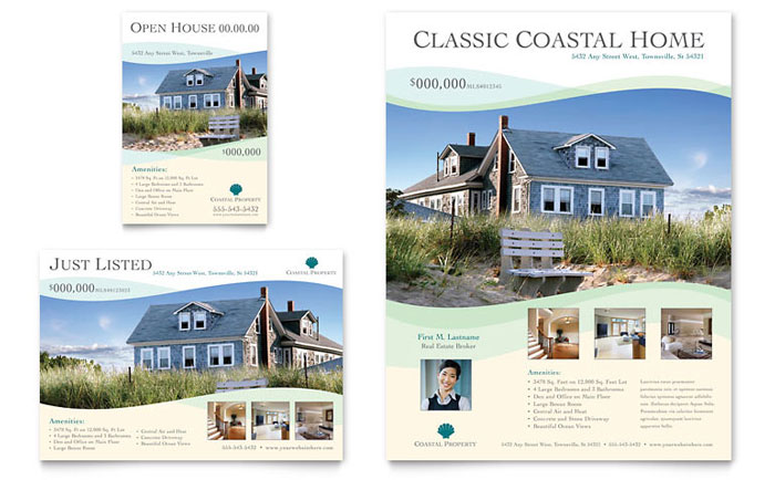 Coastal real estate flyer ad template design for Real estate prospectus template