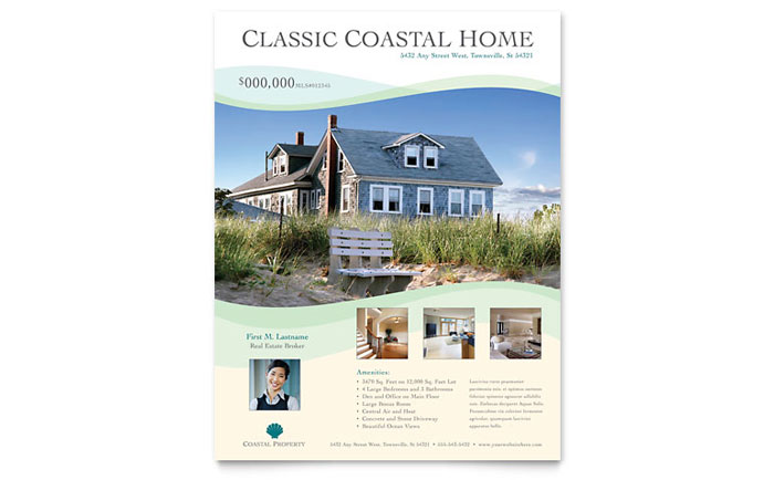 Coastal real estate flyer template design for Property brochure template