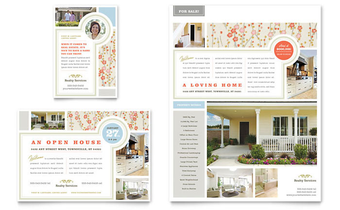 Real Estate Home For Sale Flyer & Ad Template Design