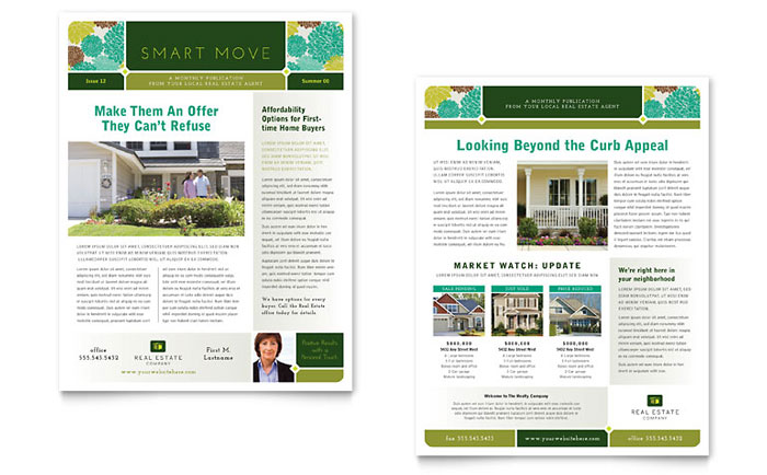 Real Estate Newsletter Template Design RE0090301 on Real Estate Flyer Templates Microsoft