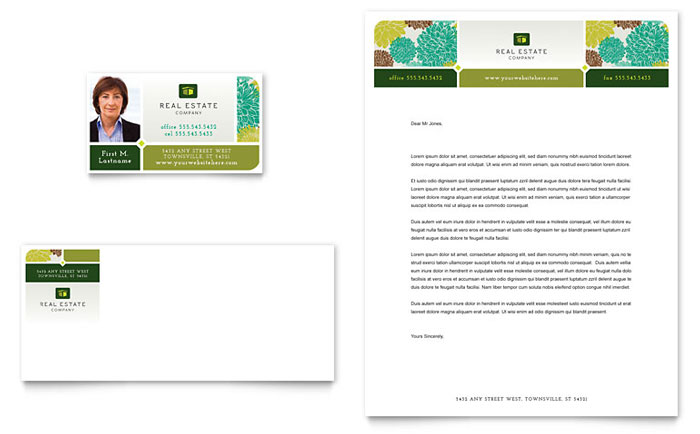 Real Estate Business Card & Letterhead Template Design Download - InDesign, Illustrator, Word, Publisher, Pages