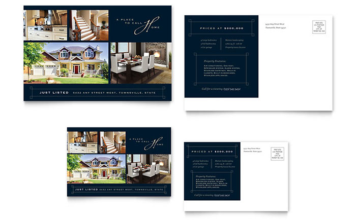 Luxury home real estate postcard template design for Real estate home ideas