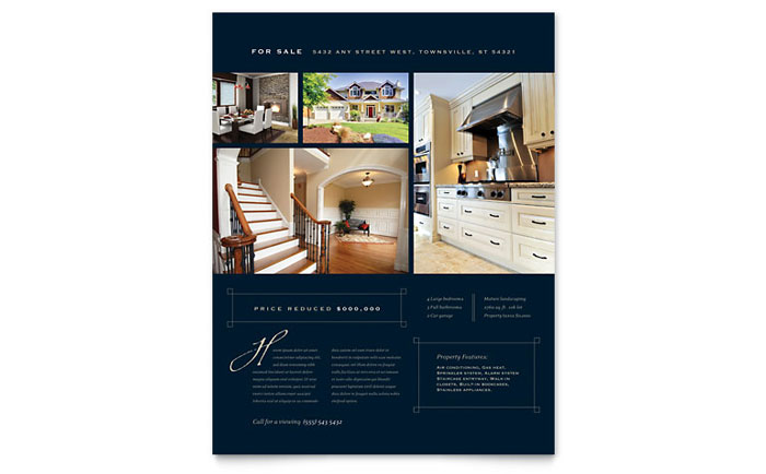 Luxury Home Real Estate Flyer Template Design   InDesign, Illustrator,  Word, Publisher,