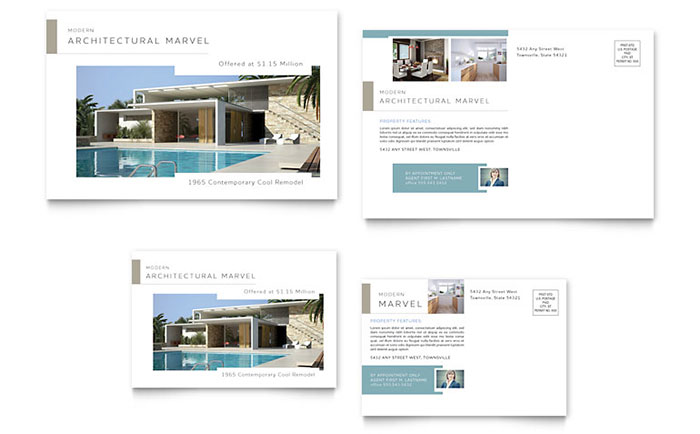 Modern Real Estate Postcard Template Design