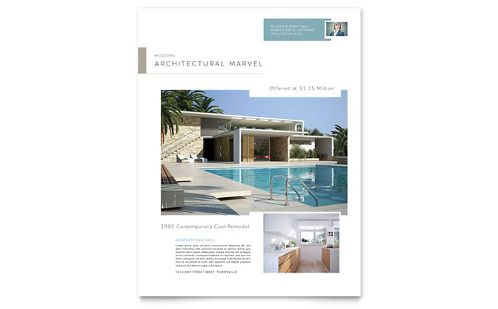 Real Estate Agent Flyers Templates Designs Sample Layouts - Property brochure template