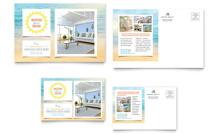 6x4 postcard template - beach house postcard template design