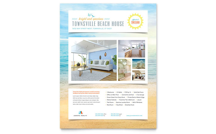 rental property flyer template - beach house flyer template design
