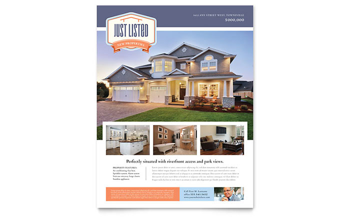 New property flyer template design for Property brochure template