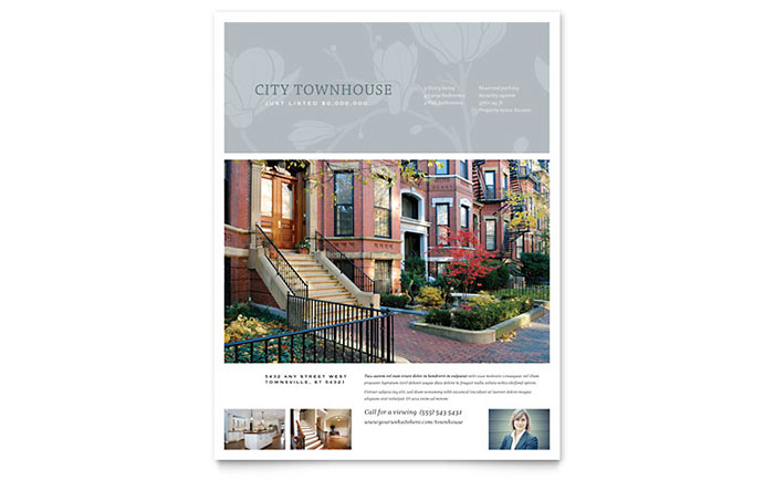 Townhouse Flyer Template Download - InDesign, Illustrator, Word, Publisher, Pages