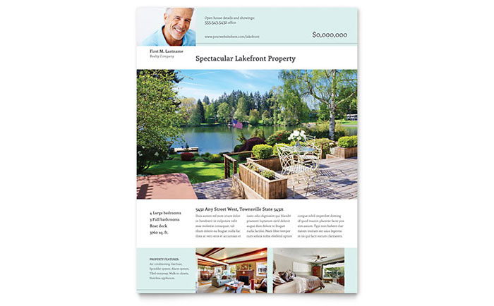 Lakefront Property Flyer Template Design - Just listed flyer template