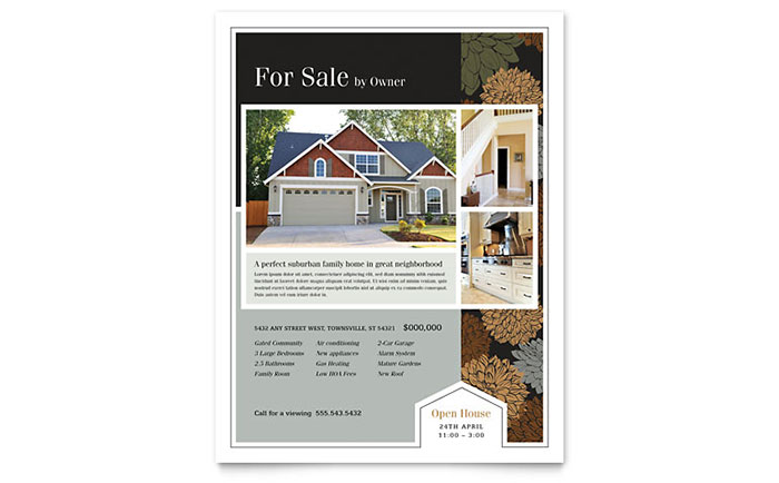 Suburban real estate flyer template design for Property brochure template