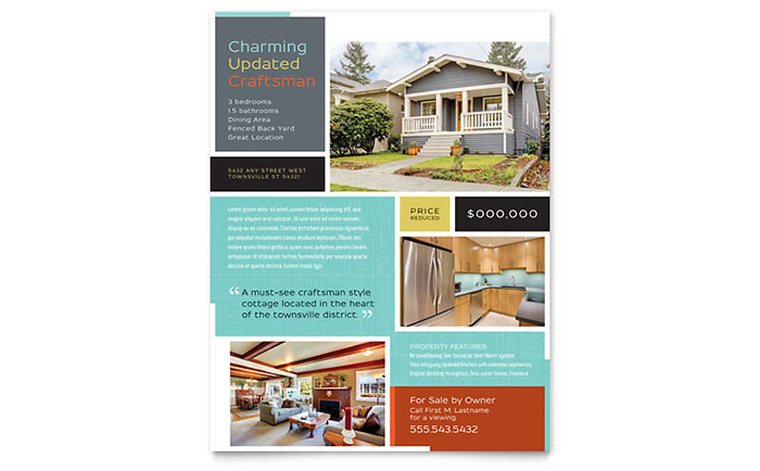 Craftsman Home Flyer Template Design - Real estate sales brochure template