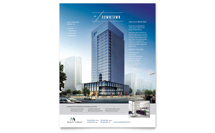 Apartment Brochure Design Downtown Apartment Flyer Template Design