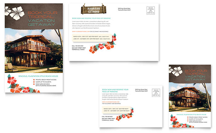 Vacation Rental Postcard Template Design