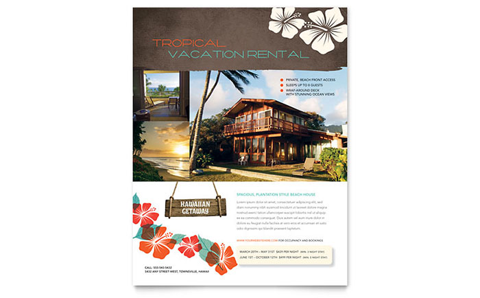 Vacation Rental Flyer Template Design - For lease flyer template