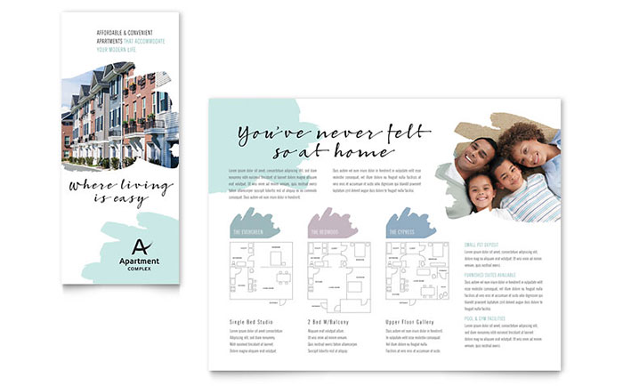 Apartment brochure template design for Apartment design examples