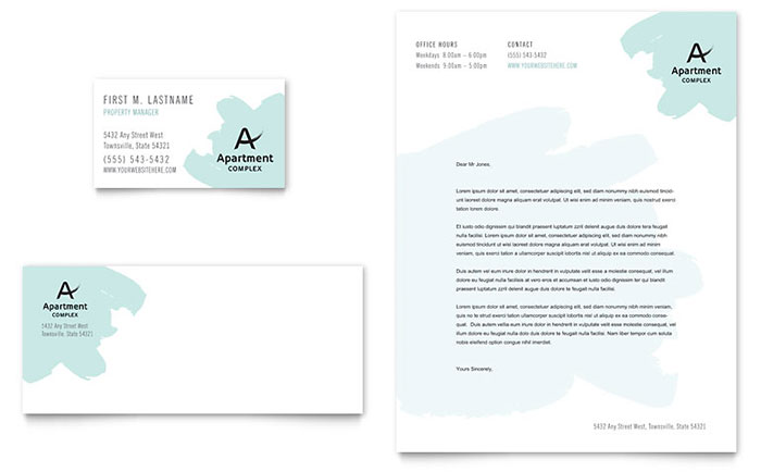 Apartment Business Card & Letterhead Template Design Download - InDesign, Illustrator, Word, Publisher, Pages