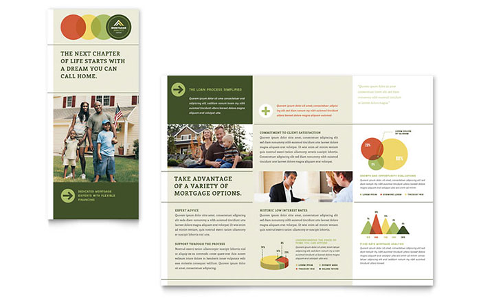 Mortgage broker tri fold brochure template design for Free mortgage flyer templates
