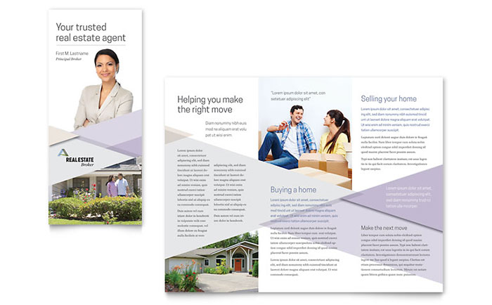 TriFold Brochure Templates InDesign Illustrator Publisher - Real estate agent business plan template