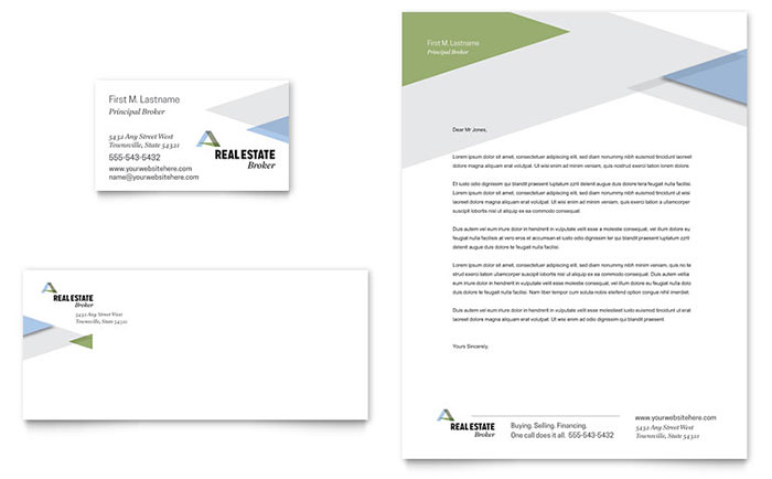 Realtor Business Card & Letterhead Template Design Download - InDesign, Illustrator, Word, Publisher, Pages