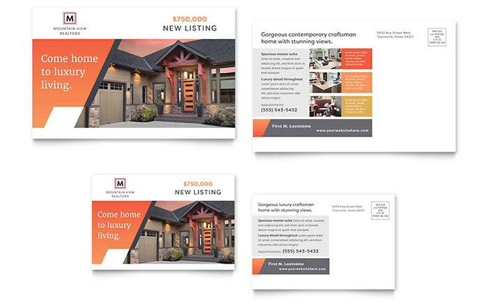 Mountain Real Estate Postcard Template Design