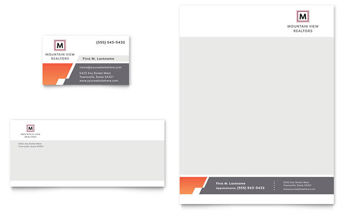 Mountain Real Estate Business Card & Letterhead Template Design Download - InDesign, Illustrator, Word, Publisher, Pages