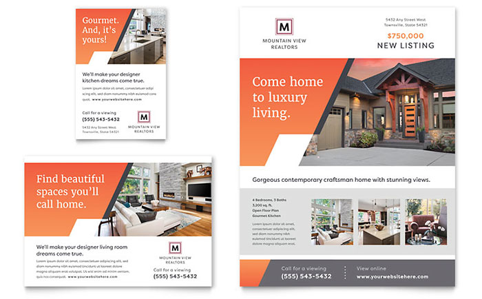 mountain real estate flyer template design