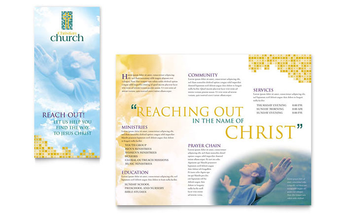 Christian Church Brochure Template Design - Free church brochure templates