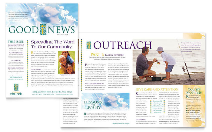 Christian church newsletter template design for Technical bulletin template word