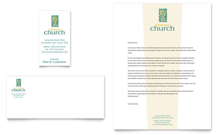 christian church business card  u0026 letterhead template design