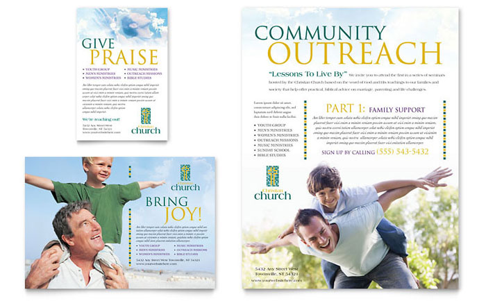 Christian Church Flyer & Ad Template Design Download - InDesign, Illustrator, Word, Publisher, Pages
