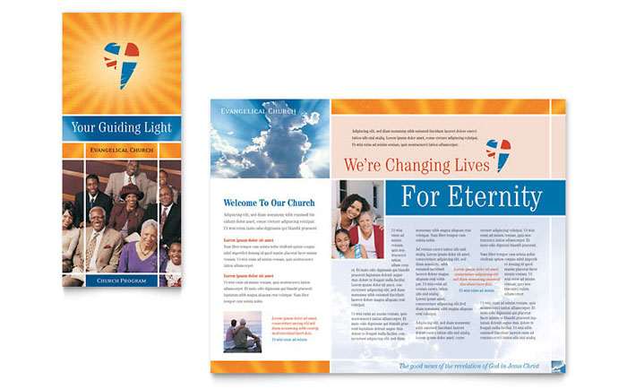 Evangelical Church Brochure Template Design - Church brochure templates