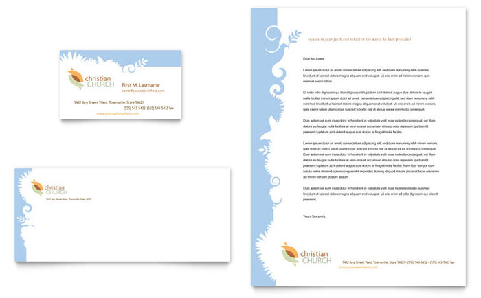 Christian church business card letterhead template design spiritdancerdesigns Choice Image