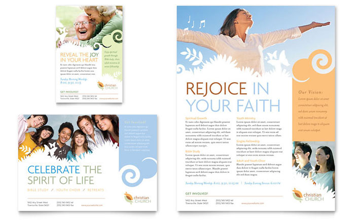 christian brochure templates - christian church flyer ad template design