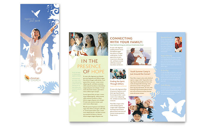 Christian Church Tri Fold Brochure Template Design Download - InDesign, Illustrator, Word, Publisher, Pages