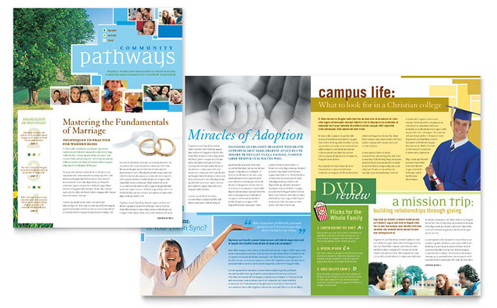 Community church newsletter template design for Newsletter layout templates free download