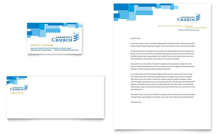 Community Church Business Card  Letterhead Template Design