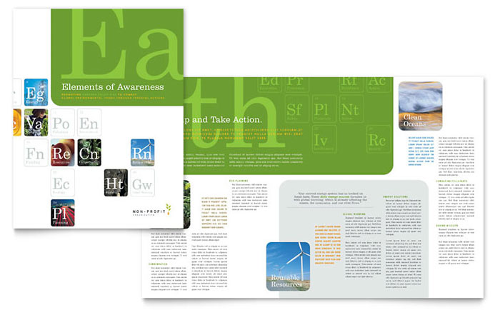 Environmental & Agricultural Non Profit Brochure Template Design Download - InDesign, Illustrator, Word, Publisher, Pages