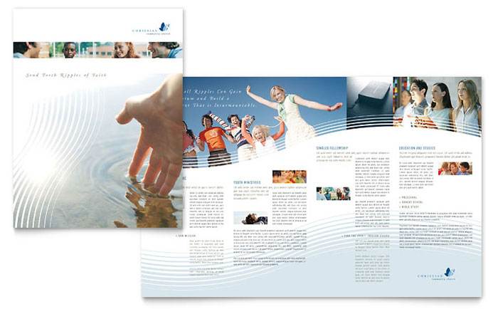 christian ministry brochure template design