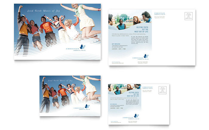 Christian ministry postcard template design for 6x4 postcard template
