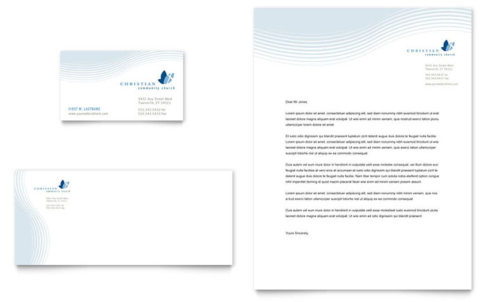 Christian Ministry Business Card  Letterhead Template Design