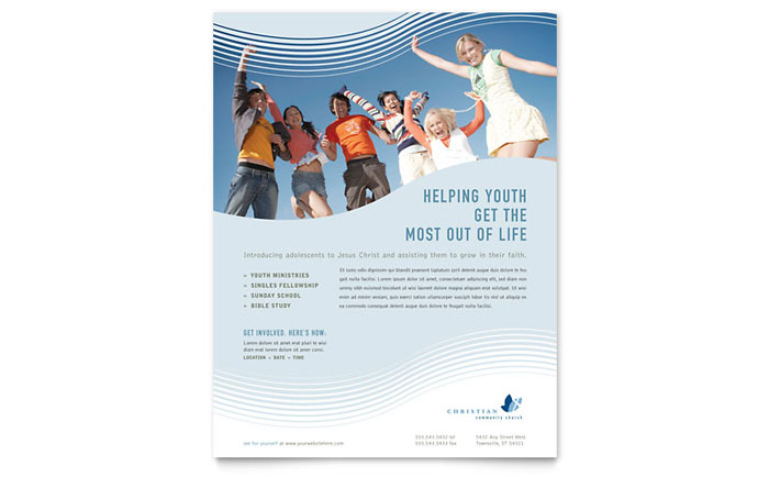 Christian Ministry Flyer Template Design Download - InDesign, Illustrator, Word, Publisher, Pages