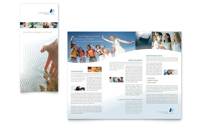 Christian ministry tri fold brochure template design for Church brochure templates free