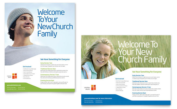 Church youth ministry poster template design for Church brochure templates free